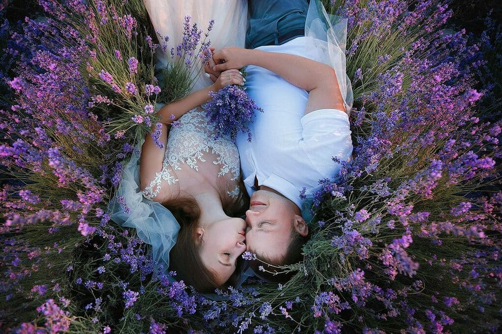 Свадьба на двоих в цветущем поле