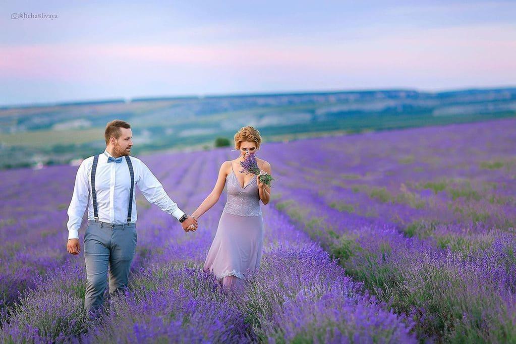 Свадьба на двоих в лавандовом поле
